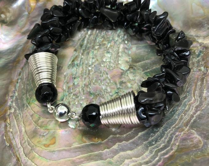 Bracelet, Black Spinel Bracelet, Multi strand Bracelet, Nugget Bracelet, 7 inches, Hand made bracelet, Natural gem stones, Gift for her,