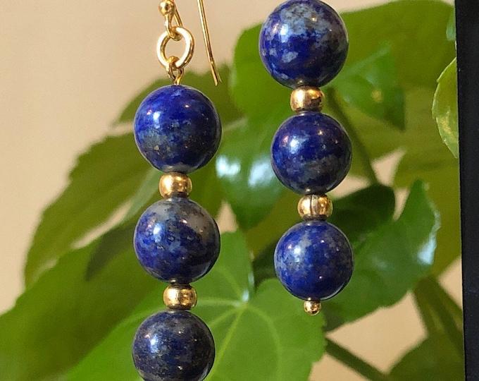 Lapis Lazuli Earrings, Blue and Gold Drop earrings. September Birthstone, Zodiac Virgo/Libra, Gold plated findings, Gift for her,