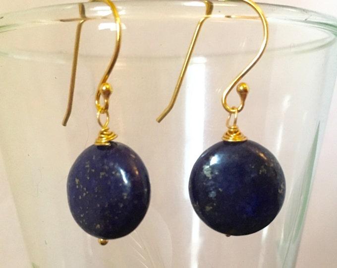 Earrings, Lapis Lazuli Earrings, Blue drop earrings. Lapis puffy coins, September Birthstone, Zodiac Virgo/Libra, Gold, Gift for her,