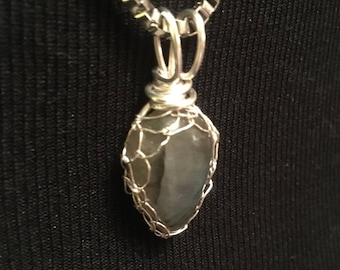 Labradorite Pendant, Labradorite cabochon , Silver basket wire weaving, Hand crafted, Gift for her, Genuine Gem Stone, Ethically mined