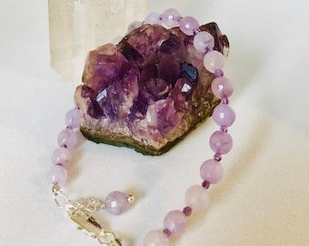 Amethyst Bracelet.  Faceted Lavender Amethyst Bracelet, Stacker bracelet, Pisces Birthstone, 925 Silver, Handmade, Gift for her,