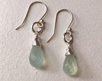 Sea Blue Chalcedony Earrings, Chalcedony and Silver Earrings,  Dangle Earrings, Gift for her
