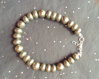 Fathers Day, Mens Bracelet, Pyrite beaded Bracelet, Natural Pyrite rondelles and rounds, Genuine gem stones, Gift for him, Handmade,