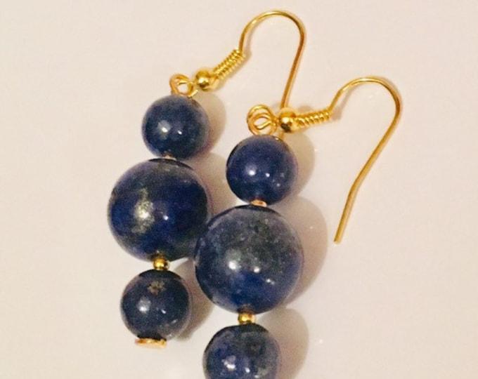 Earrings, Lapis Lazuli Earrings, Blue and Gold 3 Drop earrings. September Birthstone, Zodiac Virgo/Libra, Gold findings, Gift for her,