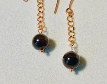 Earrings, Rhodolite Garnet Earrings, Garnet and chain Earrings, Beaded  Earrings. Birthstone  January, Zodiac Jewelery,  Gift for her,