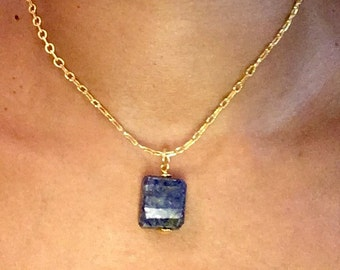 Necklace, Lapis Lazuli pendant, Blue pendant, 16 inch Gold plated chain, September Birthstone, Throat Chakra, Gift for her, Genuine gem ston