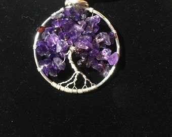 Tree of Life, Amethyst Pendant, Pieces Birthstone, Silver wire work, Genuine Gem Stones, Handmade, Gift for her,