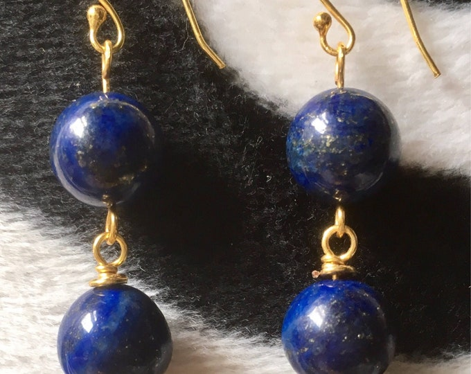 Lapis Lazuli and Gold Earrings. Two Drop rosary link earrings. Blue Earrings Lapis Lazuli. Birthstone Jewellery, Gift for her,