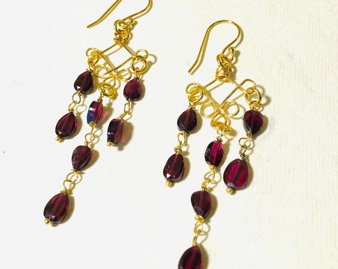 Earrings, Rhodolite Garnet Earrings, Rosary link Earrings, Garnet  Earrings, Birthstone  January, Zodiac Jewelery,  Gift for her,