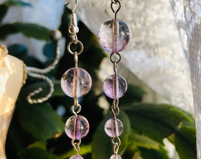 Amethyst Earrings. Rosary link Earrings. Pieces Birthstone, Silver wire work, 925 Silver. Genuine Gem Stones, Handmade, Gift for her,