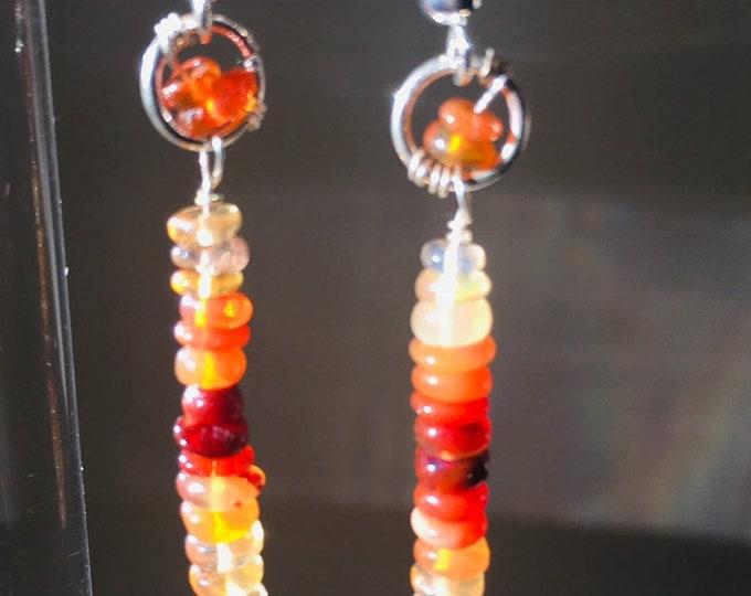 Earrings,  opal earrings Mexican Fire Opal drop earings, 925 Sterling Silver,  Silver Jewellery, Precious stones, Birthstone jewellery,