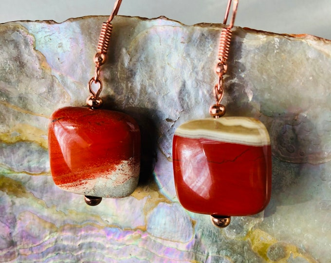 Earrings, Red Jasper and Rose Gold  Drop Earrings, Jasper Earrings, Red Earrings, Rose Gold, Genuine gem stones, Handmade, Valentines gift