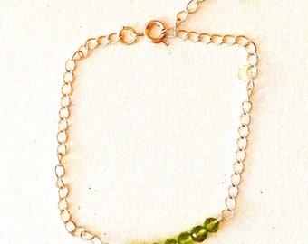 Bracelet. Peridot Silver Bar Bracelet, Green Gemstone Bracelet, Genuine Gemstones, Birthstone - August, Leo, Gift for her, Handmade,
