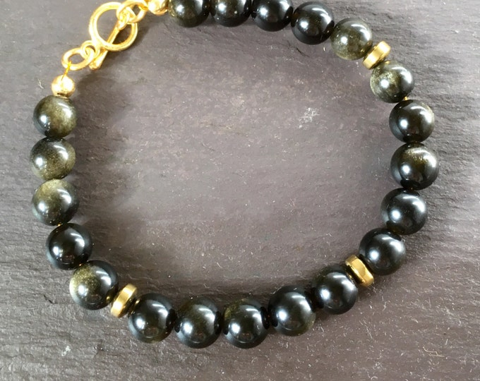 Bracelet, Golden Obsidian Bracelet, Obsidian and Haematite Beaded Bracelet, Dragons Eye,  Birthstone Jewellery, Scorpio, Gift for