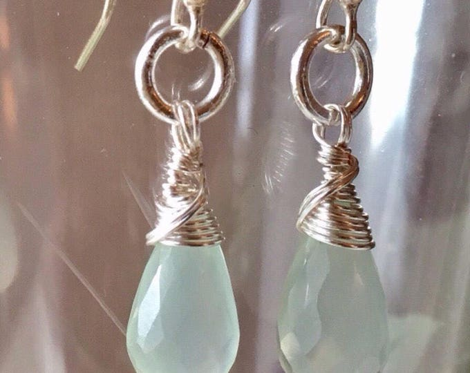 Aqua Blue Chalcedony Earrings, Chalcedony and Silver Earrings,  Dangle Earrings, Gift for her
