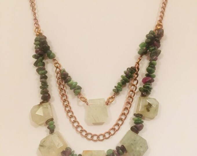 Bib Necklace and Earrings, Ruby Zoisite and Prenite set, Hand made, One off a kind, Gift for her, Mother's Day gift