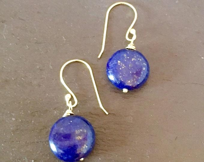 Lapis Lazuli Earrings, Blue and Gold drop earrings. Lapis puffy coins, September Birthstone, Zodiac Virgo/Libra, Gift for her,