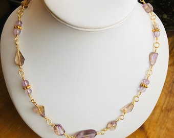Amertrine Necklace, Rosary link Necklace, Amertrine, Amethyst, Gold 925 Sterling Silver, Mother's Day, Wedding, Only one available,
