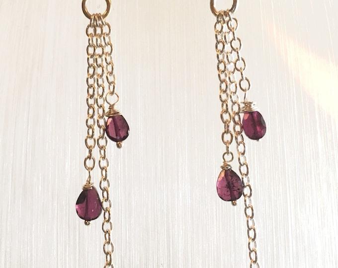 Earrings, Garnet earrings, Silver chain drop Earrings, Birthstone jewellery, Capricorn, January,  Genuine Gem Stones, Gift for her