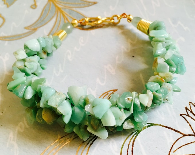 Chrysoprase multi strand Bracelet, Green and Gold Bracelet, 7 inches, Hand made, Rare Genuine gem stones, Gift for her,