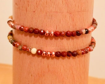 Bracelet, Mookaite Bracelets, Mookaite beads, 2 Stacker Bracelets Rose Gold, Multi coloured Jewellery, Australian Gem Stones, Gift for he