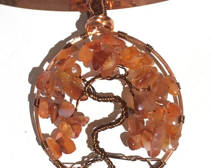 Tree of Life, Carnelian pendant, Antique Bronze and Copper wire weave Pendant, Handmade, Gift for her,