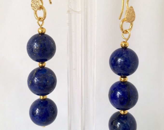 Earrings, Lapis Lazuli Earrings, Blue and Gold 3 Drop earrings. September Birthstone, Gift for her,