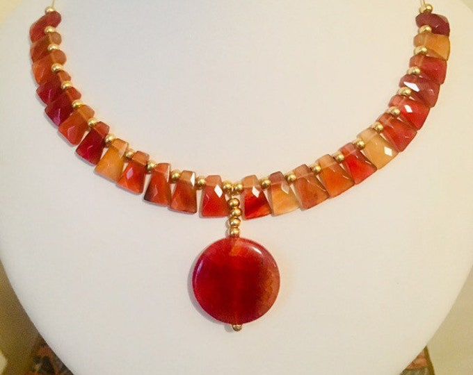 Orange Agate and Carnelian Necklace, Gem Stone Necklace,  Orange Necklace, Handmade jewellery, Holiday jewellery, Gift for her,