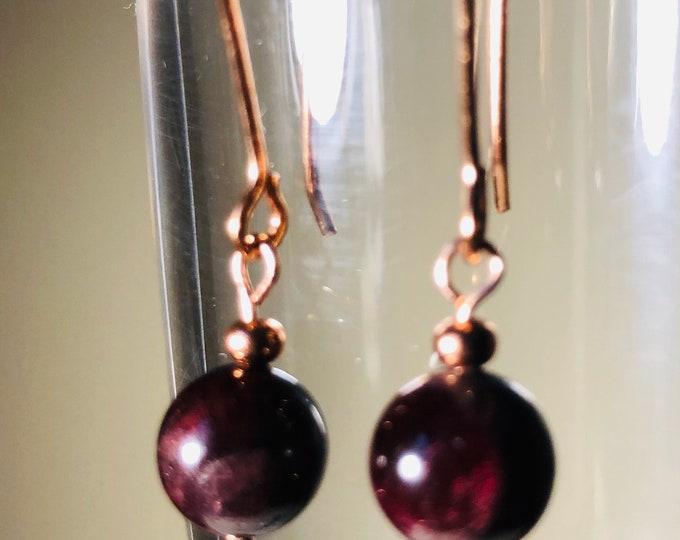 Earrings, Rhodolite Garnet Earrings, Red Earrings, Beaded  Earrings. Birthstone  January, Zodiac Jewelery,  Gift for her,