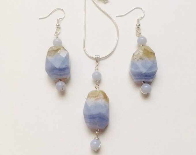 Blue Lace Agate Pendant and Earrings, Sterling Silver, Birthstone Jewellery, Sagittarius, Mother's Day gift, Gift for her