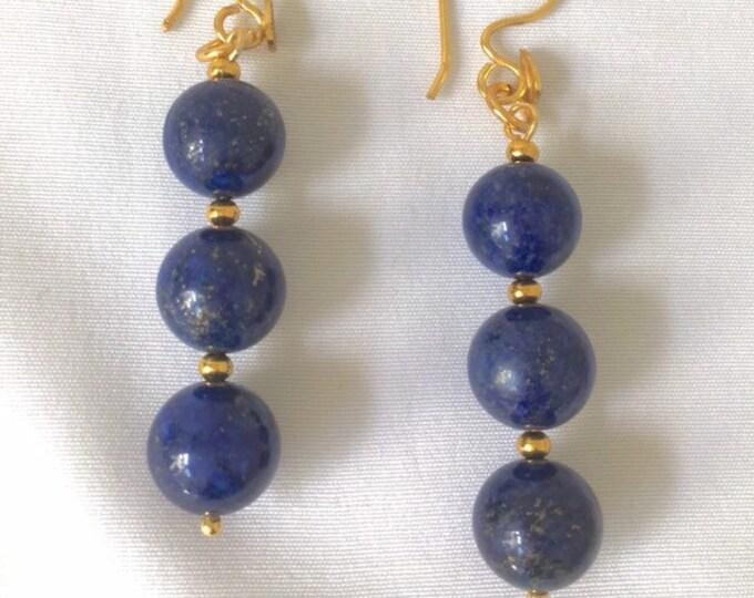 Earrings, Lapis Lazuli Earrings, Blue and Gold 3 Drop earrings. September Birthstone, Gift for her,