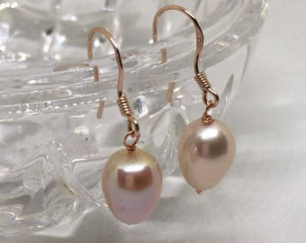 Pearl Earrings, Genuine fresh water cultured Pearls, Champagne Pearls, Rose filled 925 Sterling Silver, Wedding Jewellery, Gift for her,