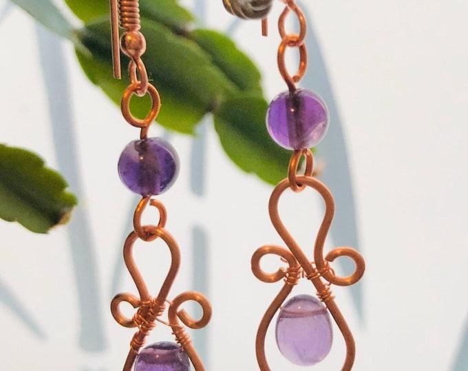 Amethyst Earrings. Rose Gold Earrings. Earrings. Pieces Birthstone, Birthstone Earrings, Gem Stone earrings, Handmade, Gift for her,
