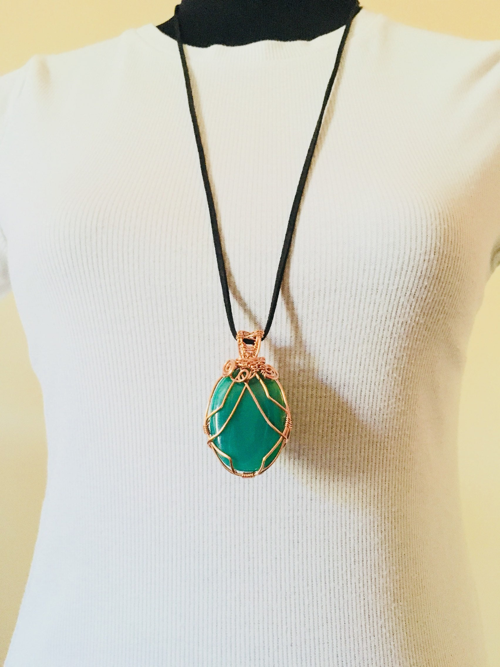 Pendant, Green Onyx Pendant, Large wire wrapped Cabochon, Copper ...
