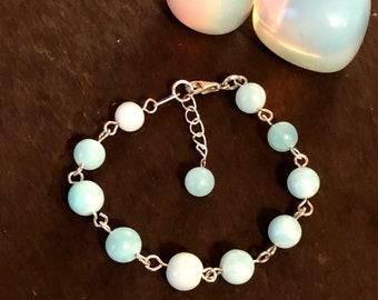 Opal Bracelet. Peruvian Opal rosary link bracelet, Birthstone Jewellery, Libra, Gift for her, Natural gemstones,
