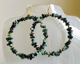 Emerald Hoop Earrings, Hoop Earrings, Emerald and Gold Hoop Earrings, Nugget hoop earrings, Taurus birth stone, Hand made, Genuine gem stone
