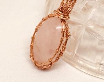 Pendant, Rose Quartz Pendant, Copper wrapped Pendant, Quartz  pendant, Handmade, Semi precious gem stones,