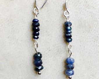 Earrings, Sapphire drop earings, Shaded Blue Sapphires, Silver Earrings,925 Sterling Silver, September Birthstone Virgo and Libra, Handmade,