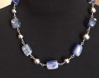 Necklace, Sodalite necklace, Chunky beaded necklace, Blue and Silver necklace, Gift for her, Mother's Day gift
