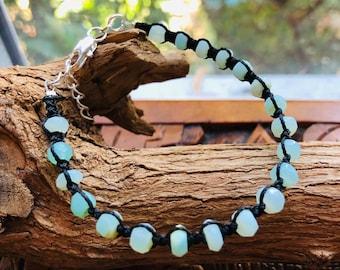 Bracelet, Opal Bracelet, Blue Opal Bracelet, Unisex, Micro Macrame Bracelet, Birthstone of Libra, Unisex, Gift for him, Gift for her,