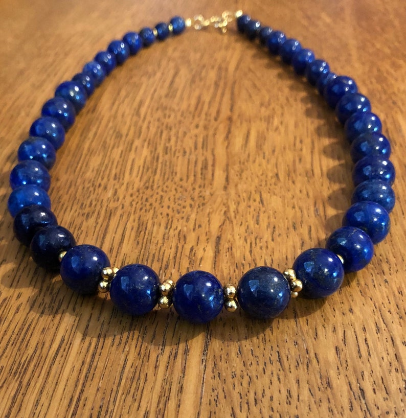 September Lapis Lazuli Necklace and Earrings Birthstone Jewellery Lapis Lazuli and Gold Necklace Gift for her, Blue Jewellery