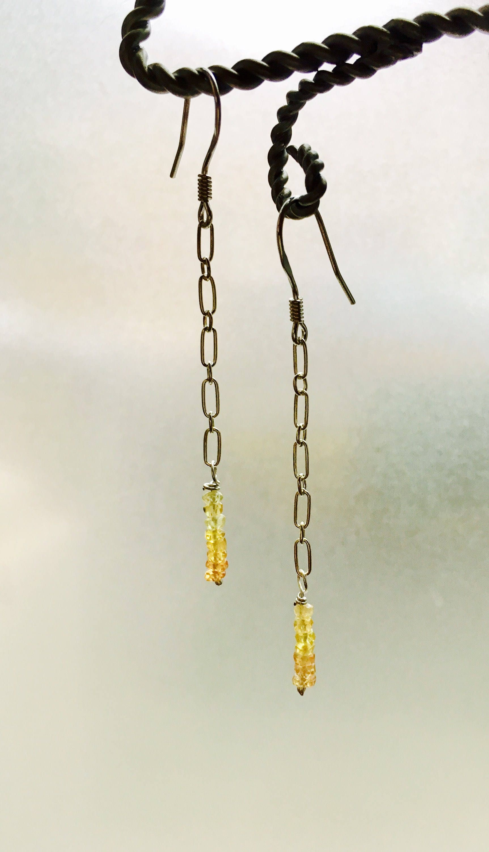 Sapphire Earrings Canary Sapphire chain drop earrings 925 ...