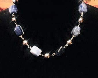 Beaded Necklace, Sodalite necklace, Chunky beaded necklace, Blue and Silver necklace, Gift for her,