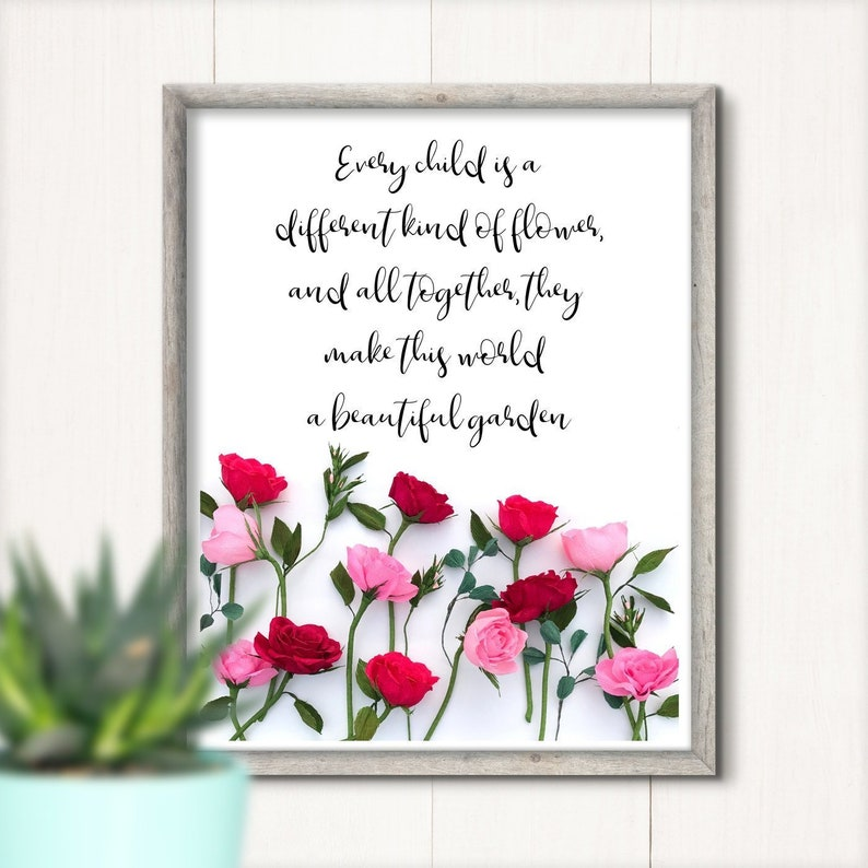 Every Child Quote Rose Wall Art Teacher Gift Digital Etsy