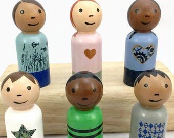 Six Peg Dolls - Wooden Peg Dolls - Boys and Girls - Diverse Peg Dolls - Ready to Ship - Peg Doll Gift Set - Wooden Peg Dolls