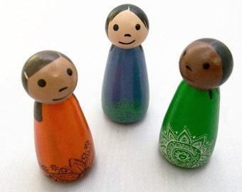 Set of 3 Peg Dolls - 2 Inch Peg Dolls - Wooden Peg Dolls - Set of Peg Dolls - Ready to Ship