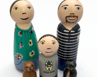 Custom Peg Doll Family - Highly Detailed - Family Portrait - Family Gift - Personalized Peg Dolls - Adoption Gift - New Baby Gift