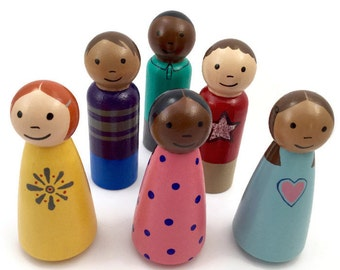 Large Peg Dolls - 6 Wooden Peg Dolls - Boys and Girls - Ready To Ship - 3.5 Inch Peg People - Wooden Doll Set -