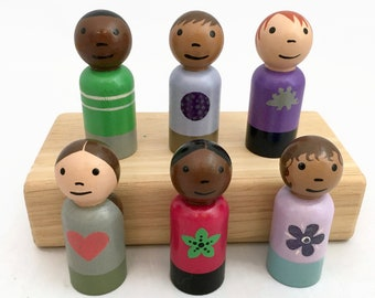 Set of 6 Peg Doll Boys and Girls - 2 3/8 Inch Pegs - Ready to Ship