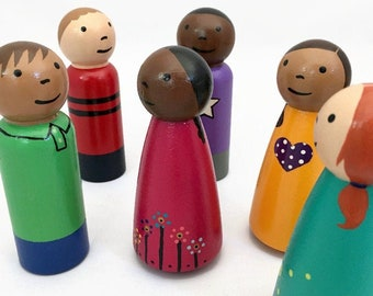 """6 Large 3.5"""" Wooden Peg Doll Boys and Girls - Ready To Ship"""